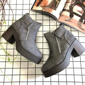 Gray Suede Women's Platform Ankle Booties Boots